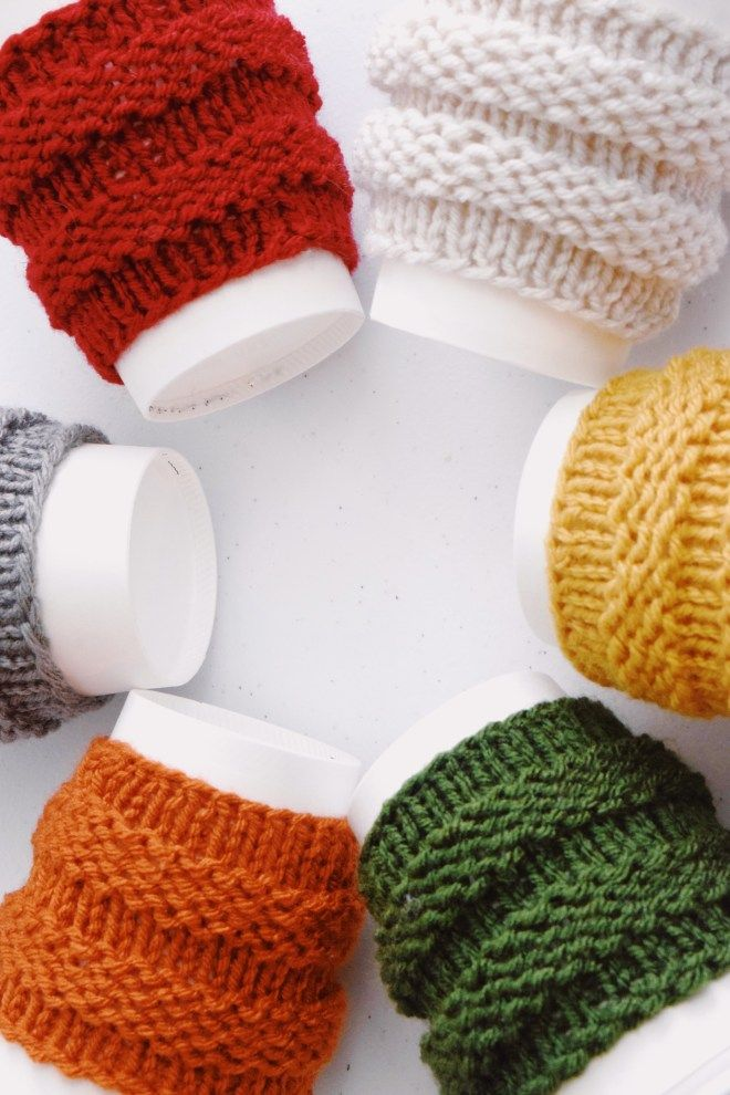 Coffee Cozies Knitting Pattern + Video Tutorial (FREE ...