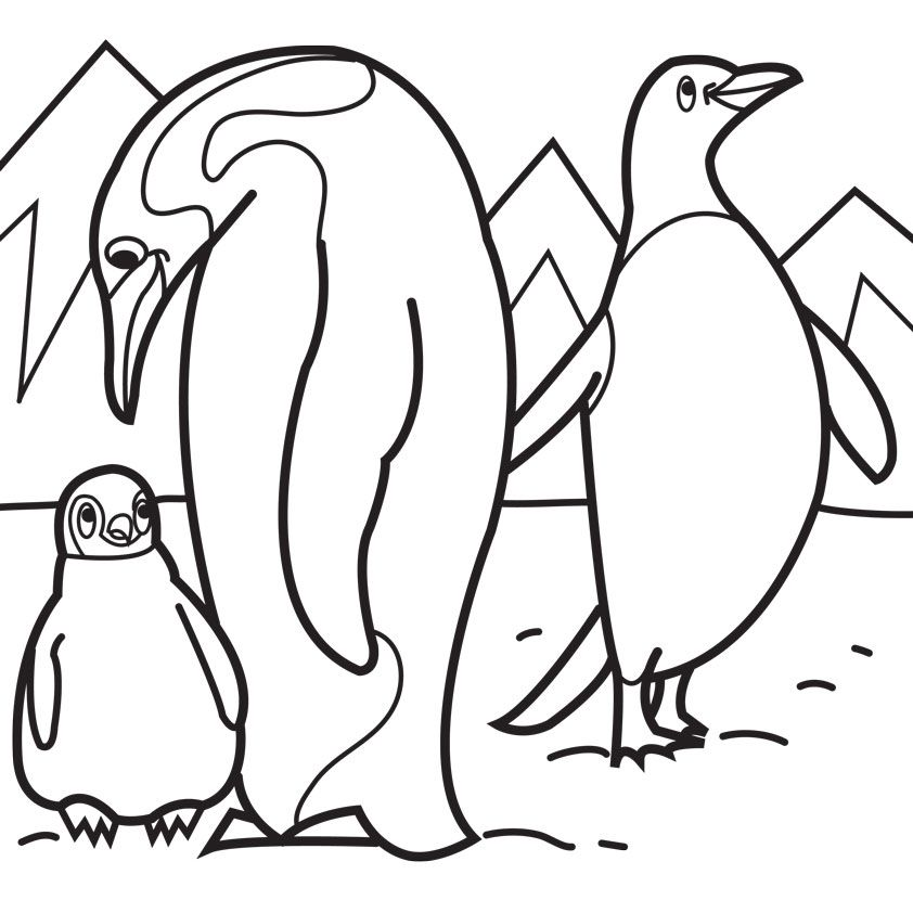 penguin family Colouring Pages Wood Burning patterns Pinterest
