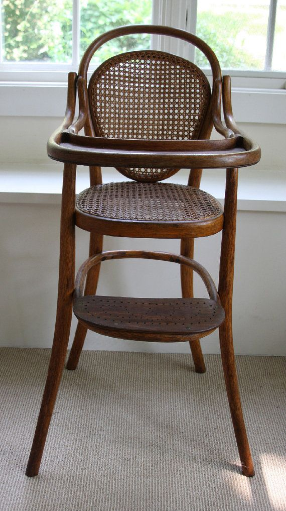 RESERVED - Original Thonet Baby High Chair - vintage, bentwood, cane - Original Thonet Baby High Chair - Vintage Bentwood Cane Home