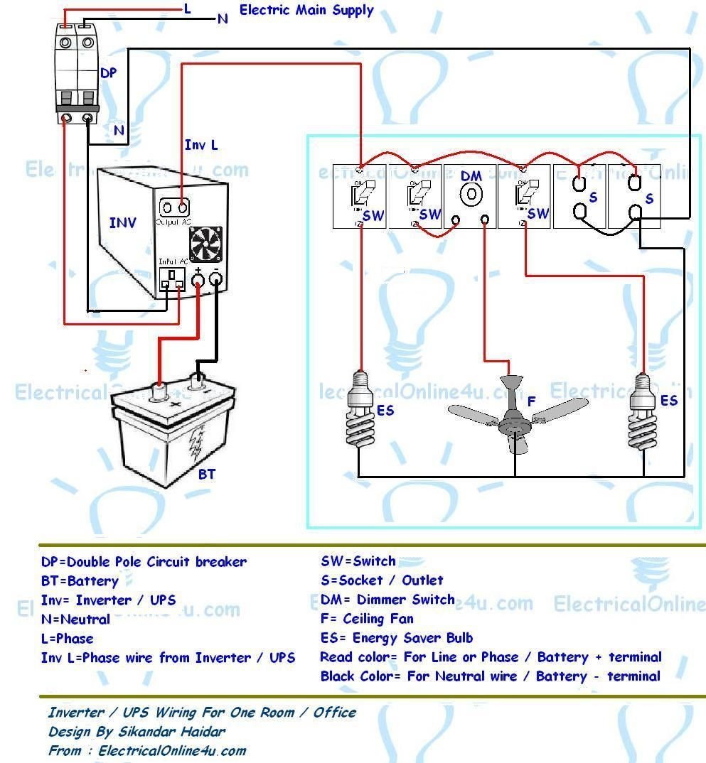 UPS & Inverter Wiring Diagram For One Room / Office ~ Electrical Online 4u  - Electrical Tutorials