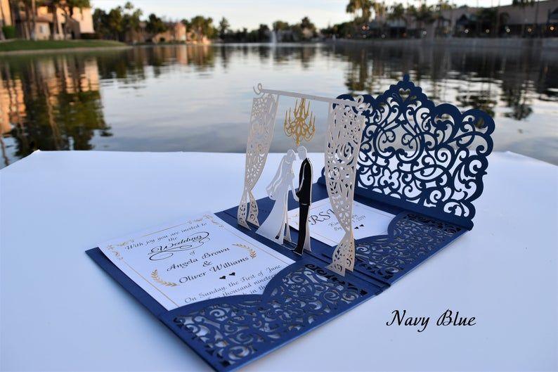 Pop Up Wedding Invitations – Sample – Chandelier Design – Laser Cut Wedding Invitations