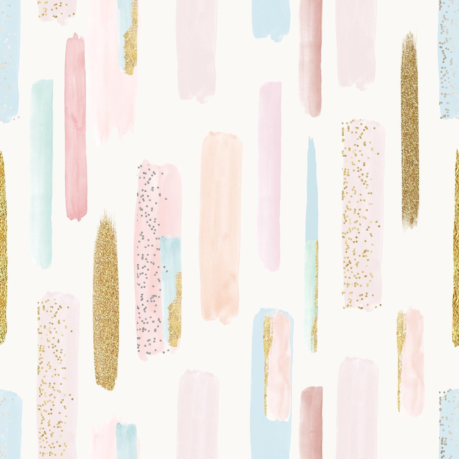 Brush Strokes Wallpaper Watercolor Wallpaper Splash Wall Etsy In 2020 Watercolor Wallpaper Gold Wallpaper Pink And Gold Wallpaper