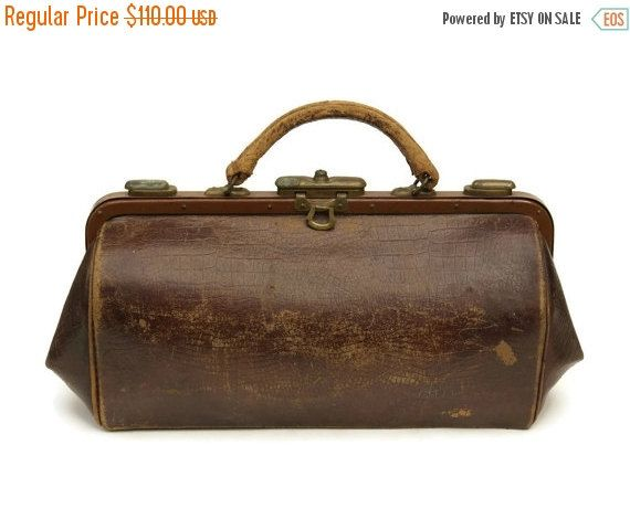 10 Off French Leather Doctors Bag By Lebonheurdujour