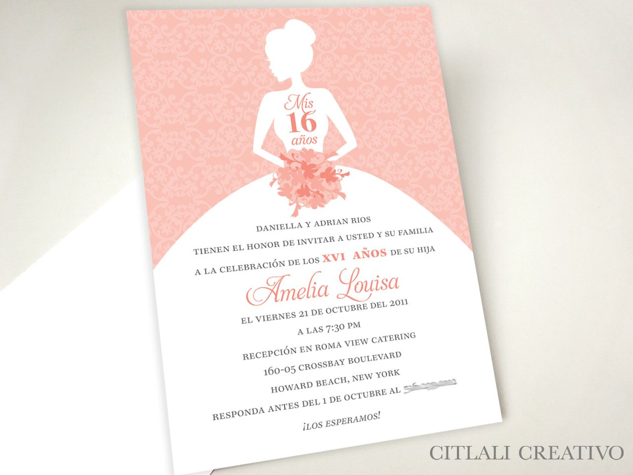 Mis 15 or 16 Años Girl in Dress Gown Birthday Invitations - made to ...