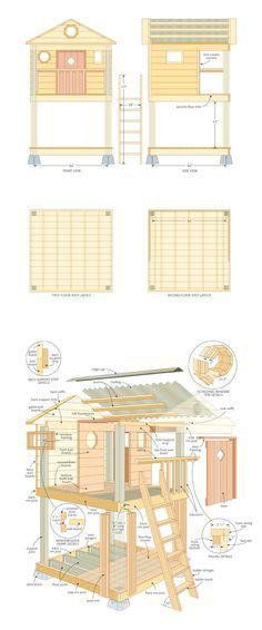 Kids Playhouse Woodworking Plans Projetos De Casas De Bonecas Casas De Brincadeiras Casinha De Quintal