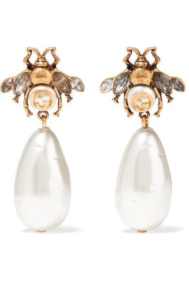 GUCCI beautiful Gold,plated, crystal and faux pearl women\u0027s