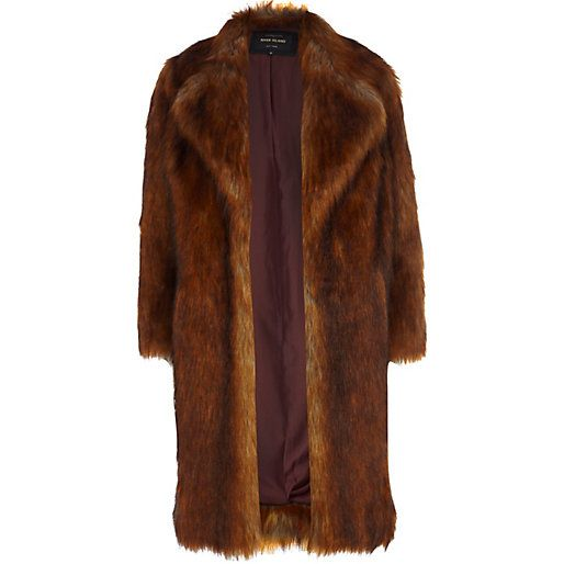 River Island Copper faux fur coat | $220