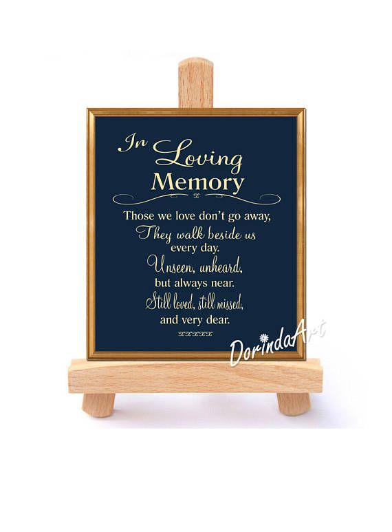 Navy and gold In loving memory Wedding sign Large Memorial
