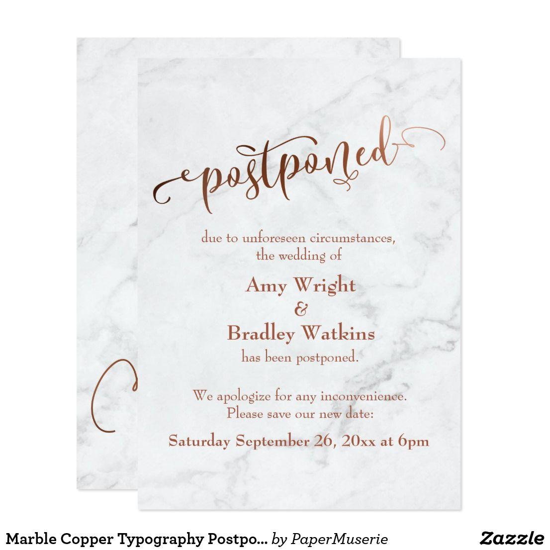 Marble Copper Typography Postponed Wedding Invitation