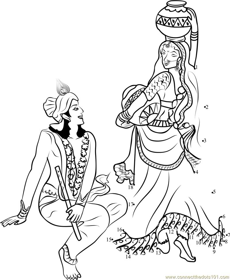 Download Or Print Radha Krishna Dot To Dot Printable Worksheet From Religions Hinduism Connect The Dots Category Mandala Design Art Book Art Krishna Art