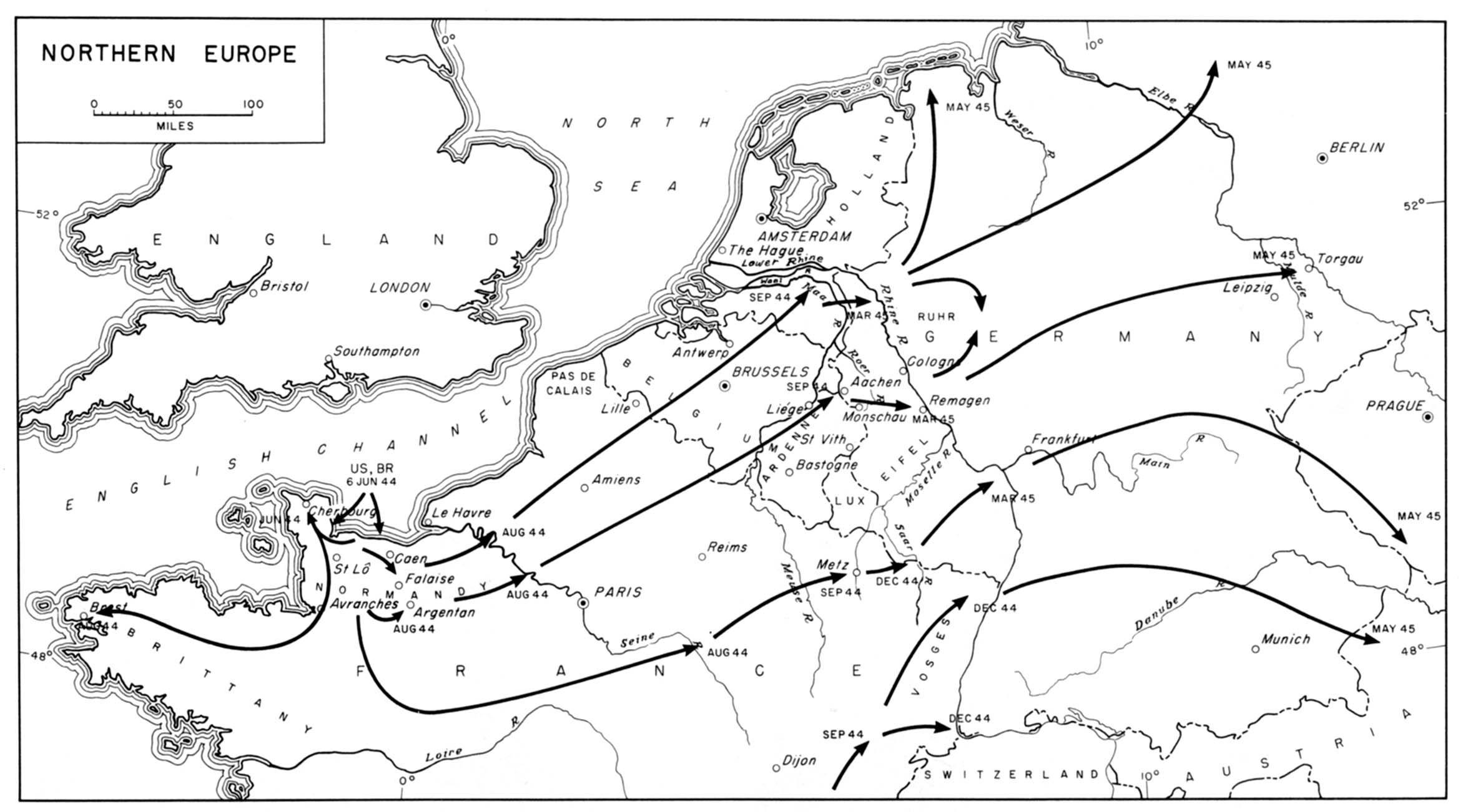 Mapa De La Ofensiva Aliada En La Europa Occidental Tras El