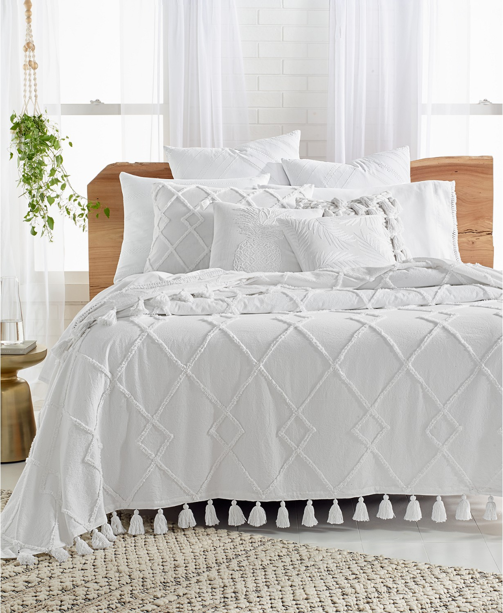 Lucky Brand Diamond Tuft Queen Bed Cover, Created for Macy