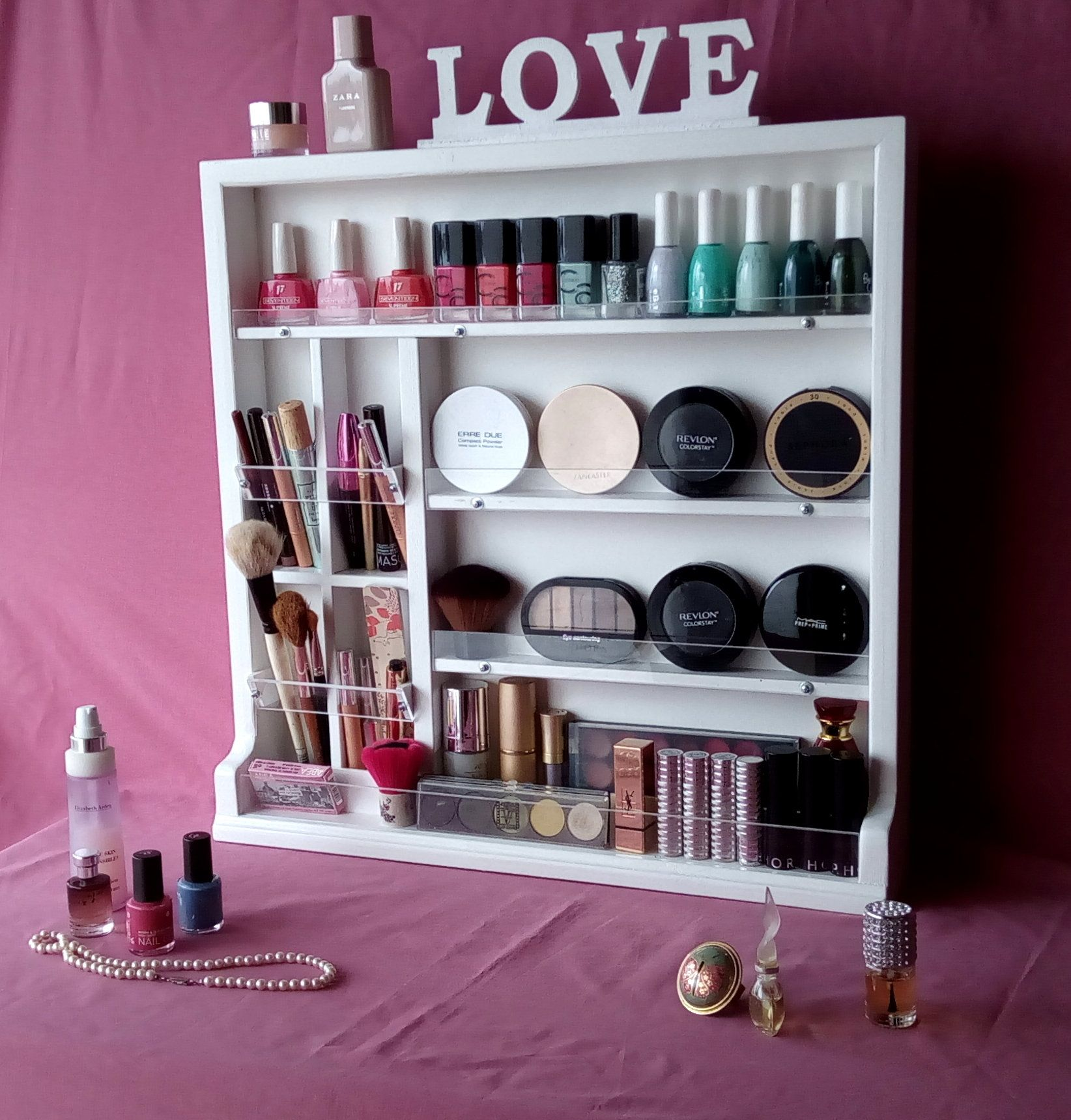 Make Up Organizer Nail Polish Storage Make Up Box Beauty Etsy Nail Polish Storage Nail Polish Storage Box Wall Storage