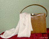 Structured Purse SALE Vintage Faux Snakeskin Handbag 50s Mad Men purse. Chestnut reptile print purse. Brown.