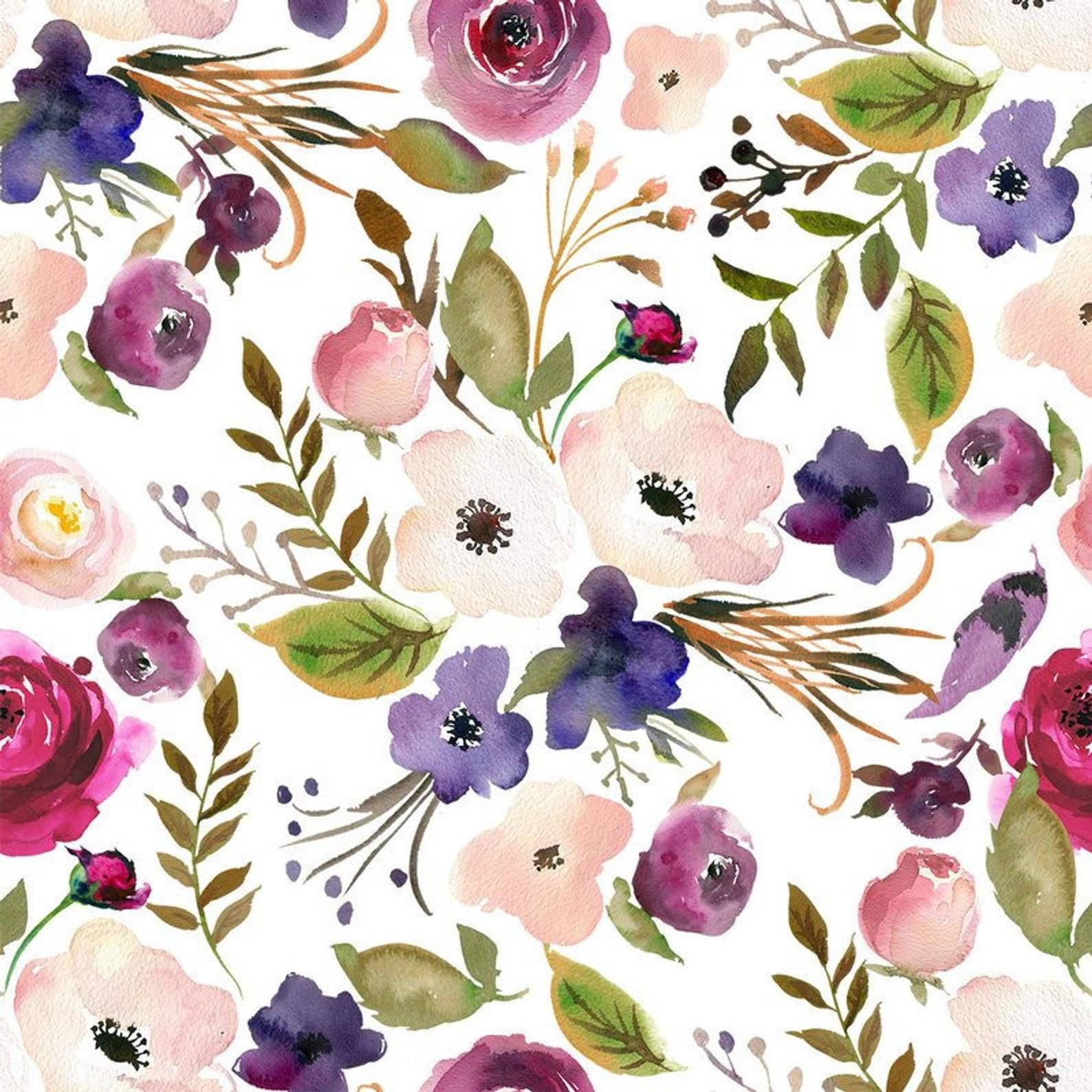 Modern purple pastel pink floral watercolor fabric