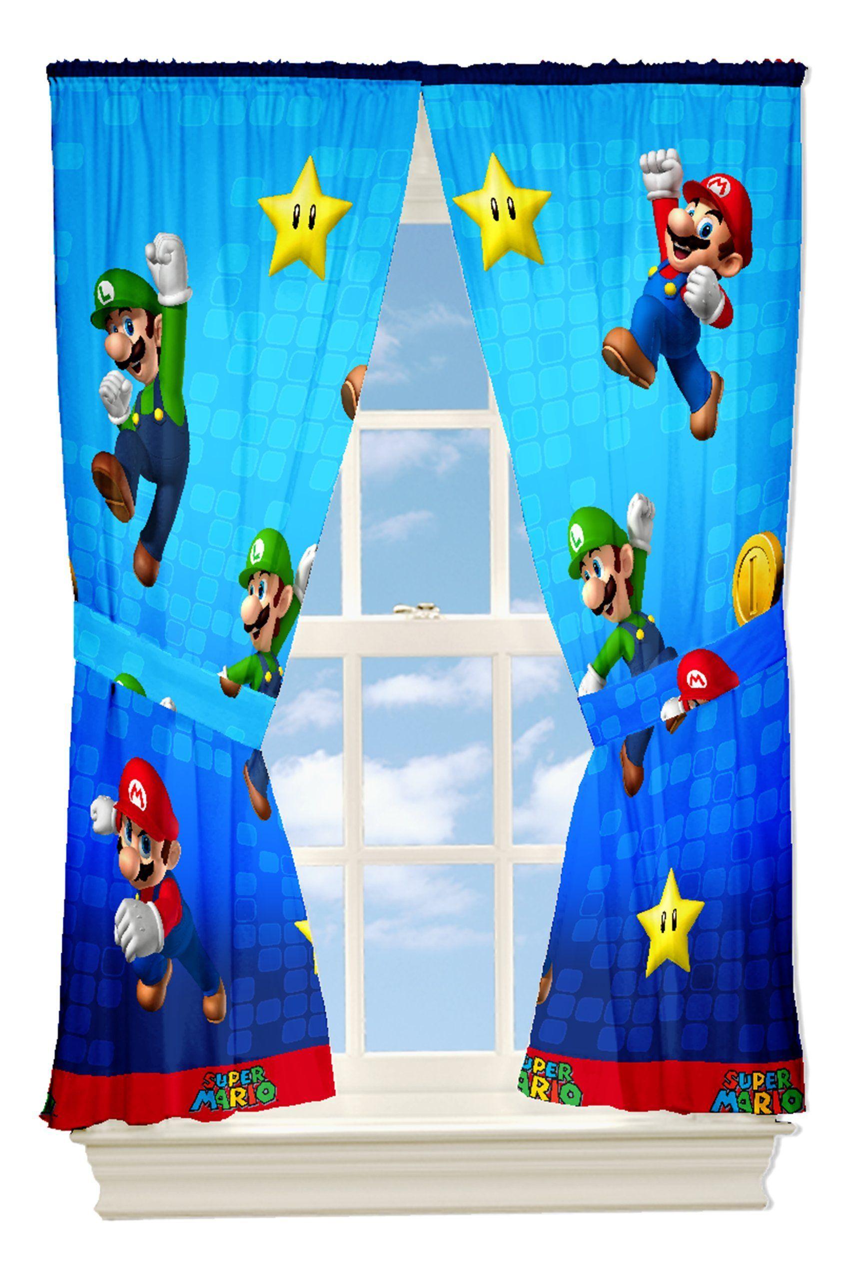 Nintendo Super Mario And Friends Drapes 82 By 63 Inch Mario Room Super Mario Video Game Decor