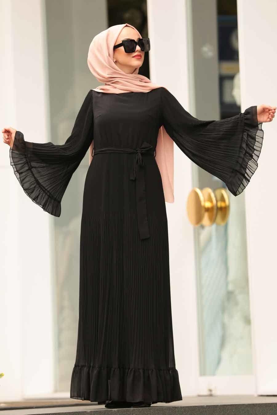 Nayla Collection Volan Kollu Siyah Tesettur Elbise 1310s Tesetturisland Com Abaya Tarzi Elbise Basortusu Modasi