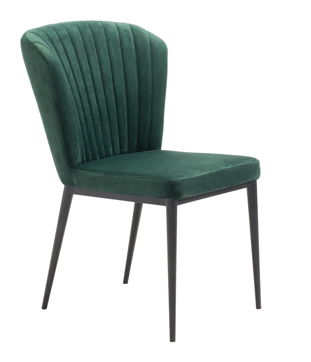 Green Velvet Romo Dining Chair With Black Stainless Steel Legs