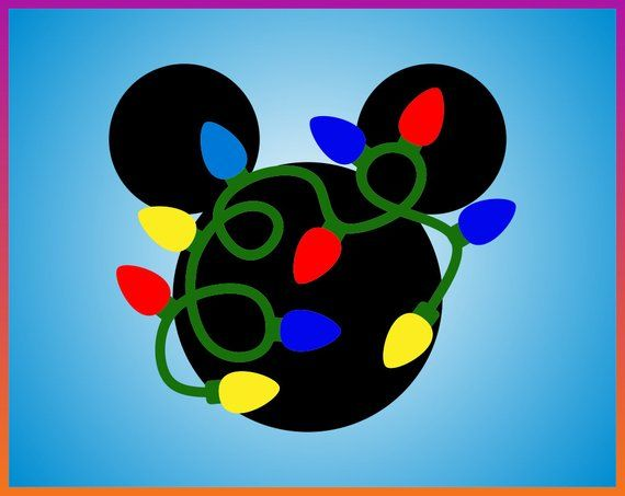 Christmas Lights Silhouette Png.Mickey Head With Christmas Lights Mickey Head Lights Cut