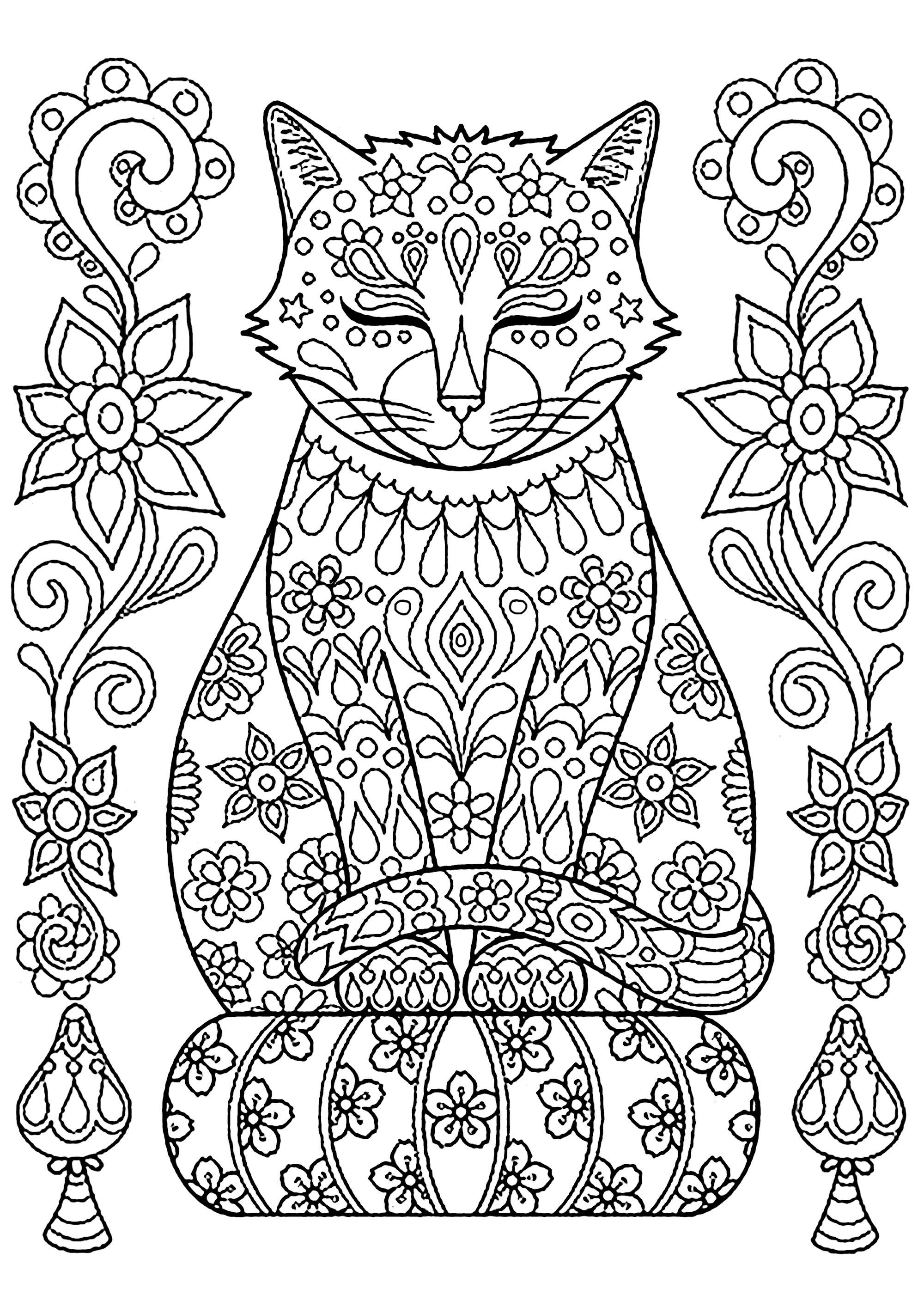 Cute Cat On Pillow With Flowers Cats Coloring Pages For Adults