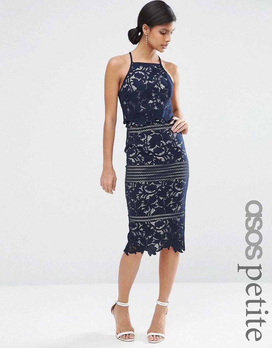Asos Petite Lace Floral Scallop Midi Dress At Asos Com Maxi Dress Prom Petite Dresses Navy Lace Dress [ 1110 x 870 Pixel ]