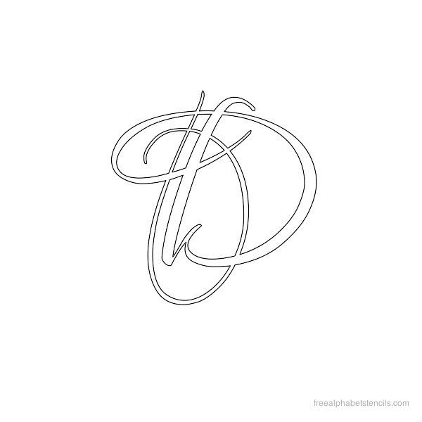 Calligraphy Alphabet Stencil D