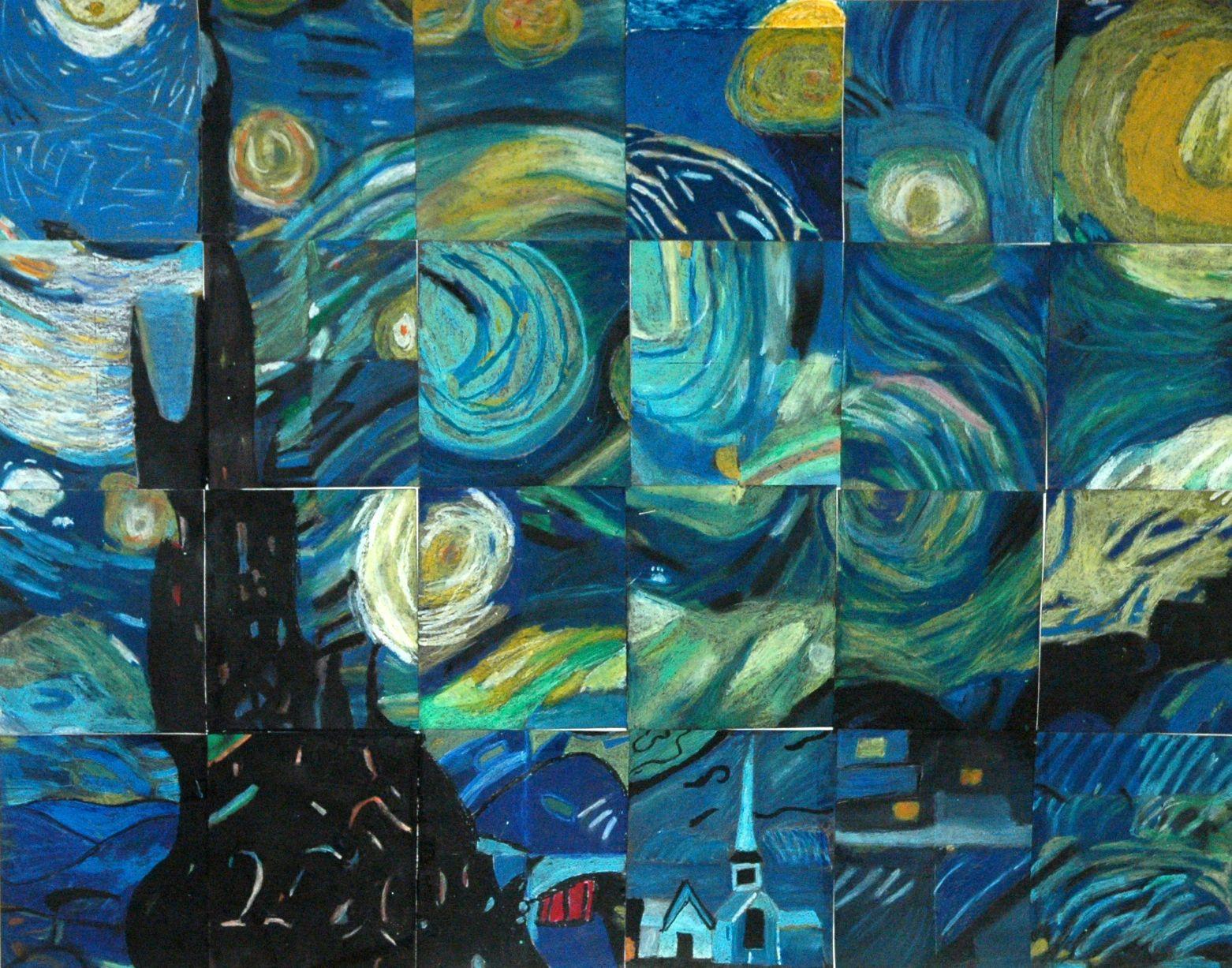 Artist Mural - 5th Grade class - Starry Night Van Gogh ...