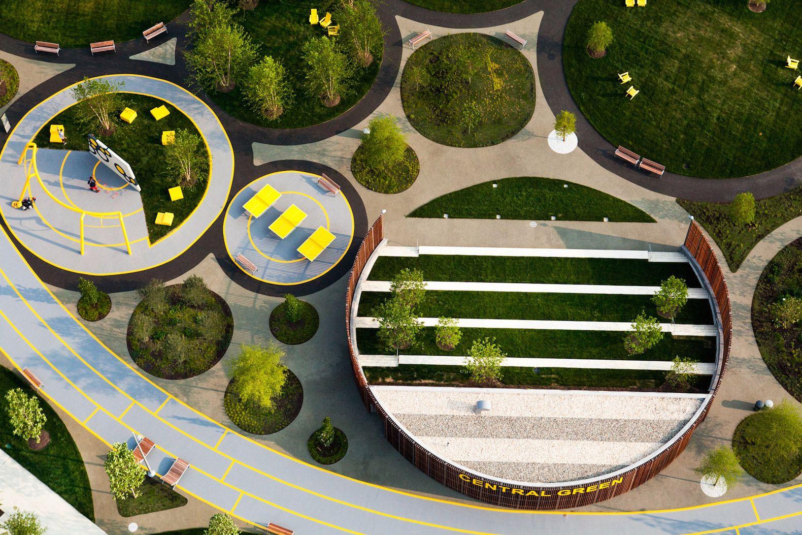 James Corner Field Operations Designs An Iconic Circular Park For The Philadelphia Navy Yard Landscape Architecture Urban Landscape Design Garden Architecture
