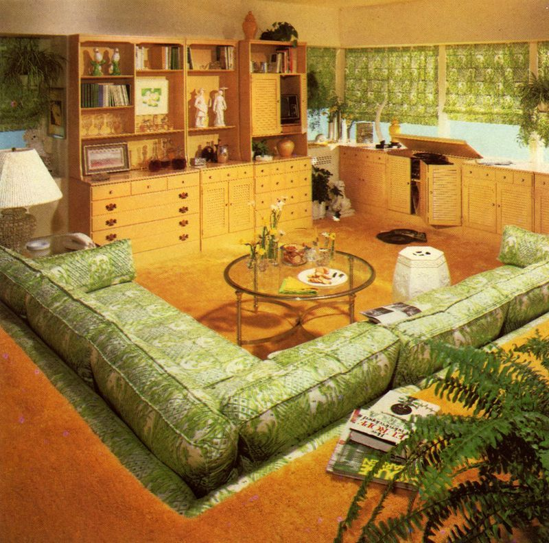 70s sunken living room pit retro atomic modern home for Mobilia anos 70
