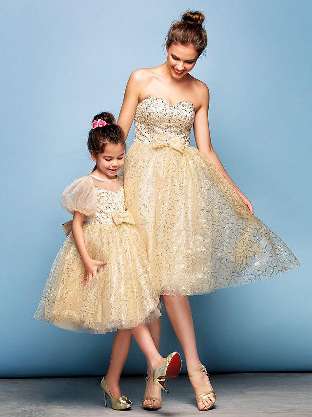 7e02bddc98f3 Mini Me Dress Ball Gown Sweetheart Knee-length Sequined Cocktail Dress |  LightInTheBox