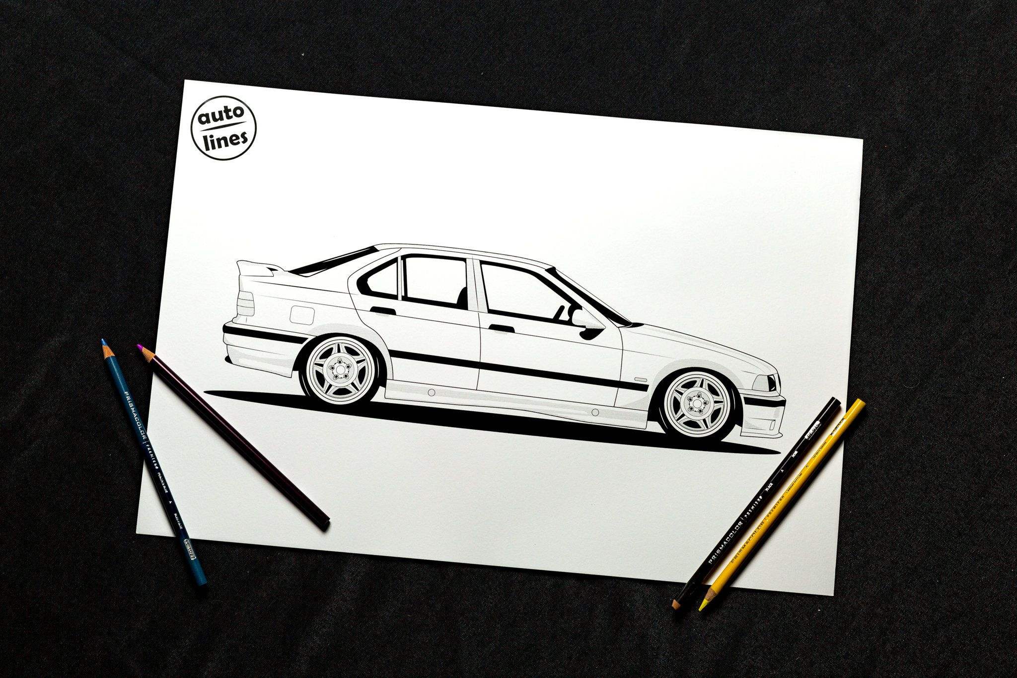 Bmw E36 M3 Sedan 12x18 Color Your Own Wall Art Print Coloring
