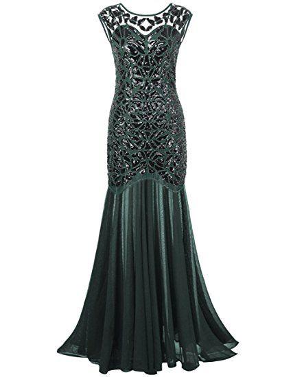 PrettyGuide Donne 1920s Nero Paillettes Gatsby Maxi Lungo Prom Vestito da Sera