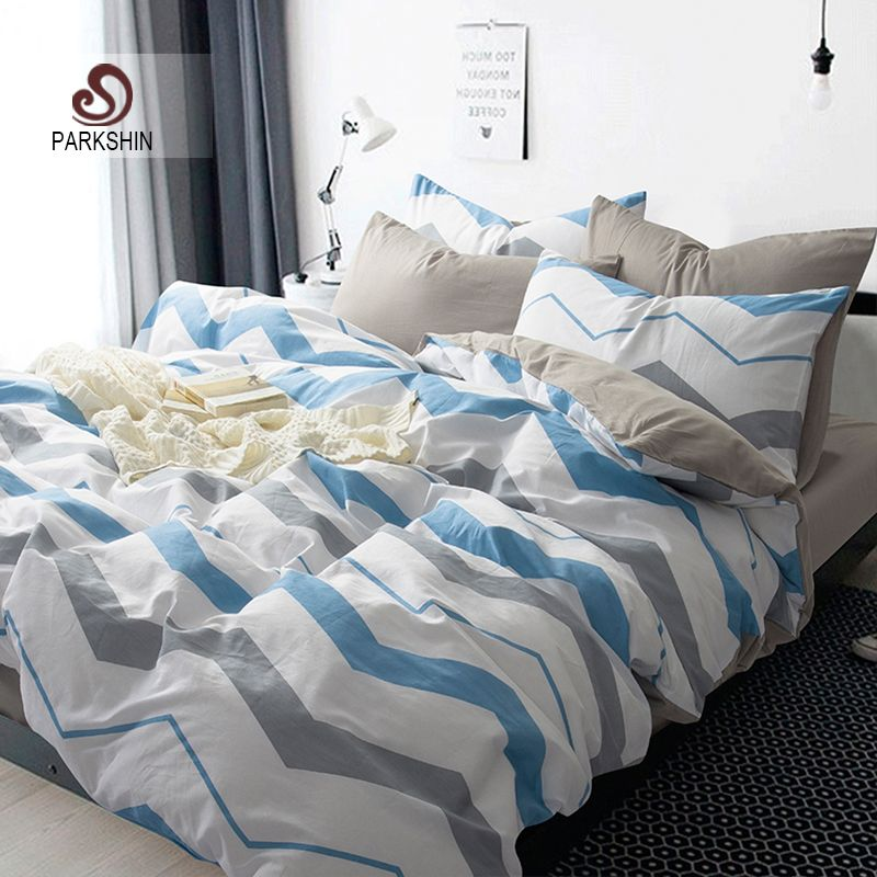 ParkShin Nordic Style Bedding Sets 100% Cotton Duvet Cover Set Gray And  Blue Bed Sheet