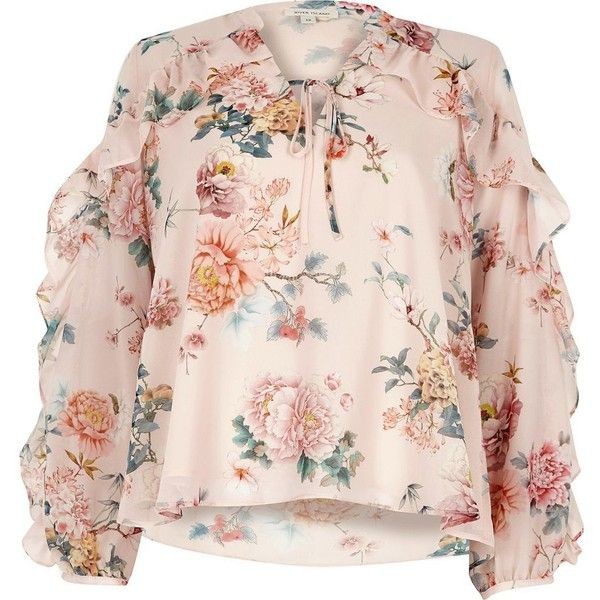 742eb817df2c River Island Pink floral print frill sleeve blouse ($70) ❤ liked on  Polyvore featuring tops, blouses, pink, women, floral necktie, floral blouse,  long ...