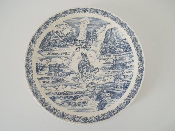 Vintage ceramic Wyoming Indian Paintbrush State Flower of Wyoming souvenir plate