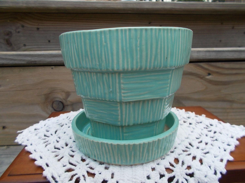 Aqua Blue McCoy Planter Flower Pot Vintage flower pots