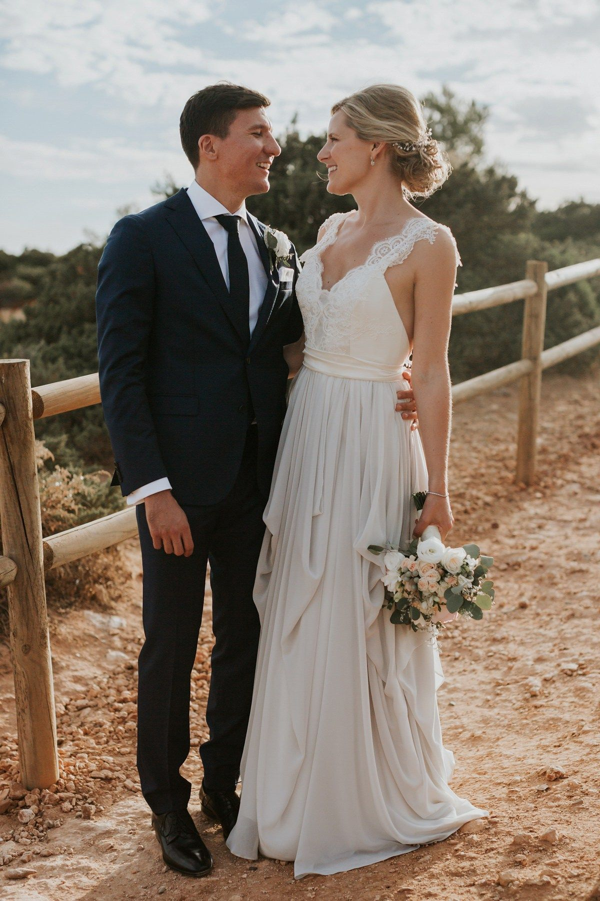 A Two-Toned Truvelle Dress for a Romantic Waterside Wedding in ...