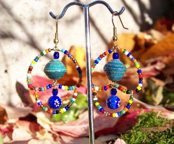 Vibrant Tanzanian paper bead earrings by Hieropice on Etsy, $17.00