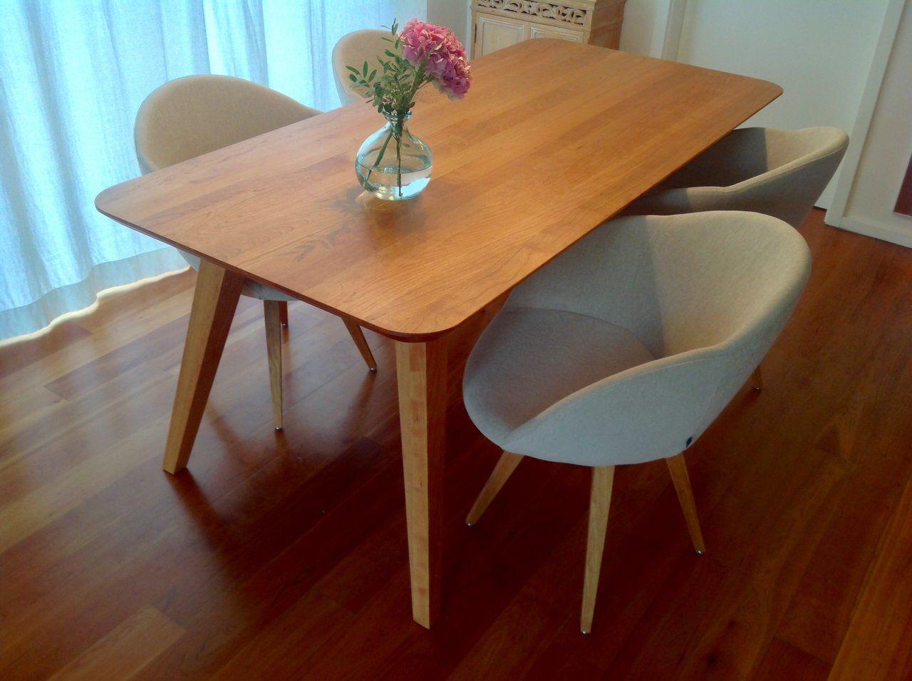 Esstisch Talos mit 4 Stühlen Holzart: amerikanische Kirsche ...