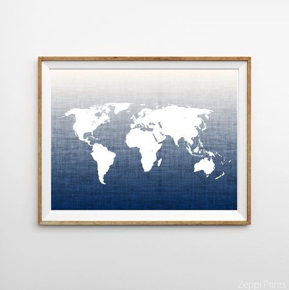 Navy world map poster large wall art map navy ombre map wall navy world map poster large wall art map navy ombre map wall decor boy nursery art office art travel navy blue wall decor dorm art gumiabroncs Image collections