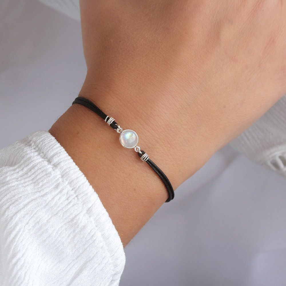 Rainbow Moonstone Bracelet Sterling Silver Minimalist Black Cord With Gemstone Boho Chic Dainty Jewelry Gift Idea For Her