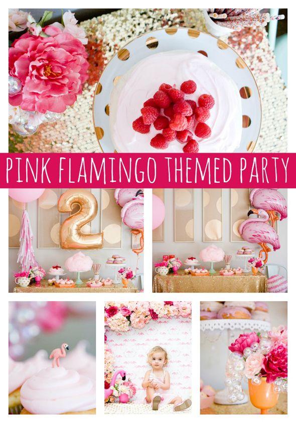 Beautiful Pink Flamingo Birthday Party Ideas on www.prettymyparty.com.