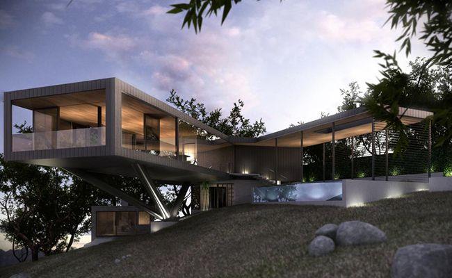 Casa em terreno em declive arch pinterest terreno for Casa moderna storm oak