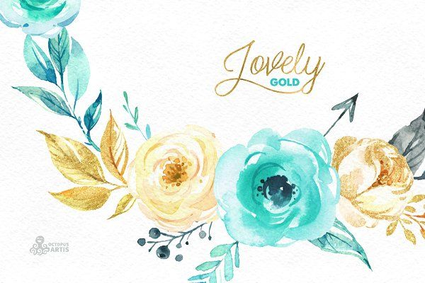 Lovely Flowers Mint Gold Floral Wreath Watercolor Flower Drawing