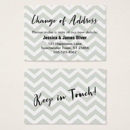 Sage and White Chevron  - change of address form template