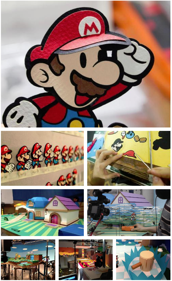 These are behind the scenes photos from the TV Commercial for Paper Mario Sticker Star. This series of games is a personal favourite of mine; the idea of a paper diorama-like world coming to life with all it's colours and textures is one that I've found very endearing even since the first game came out in the early 2000's