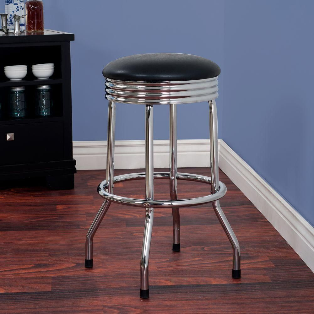 Trademark 28 5 In Chrome Swivel Cushioned Bar Stool Grey