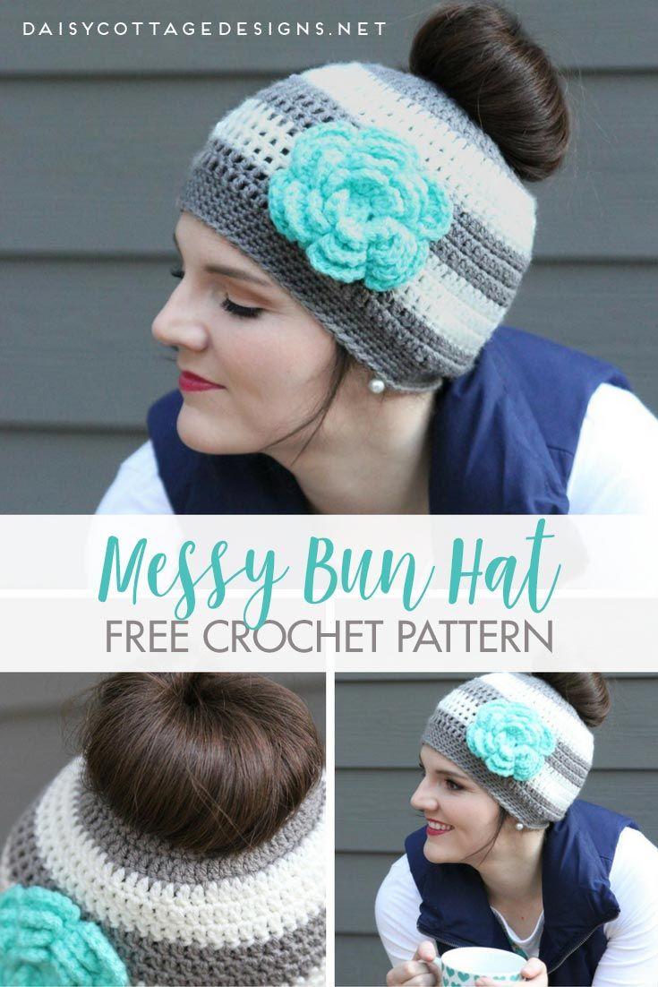 Ponytail Hat Crochet Pattern/Messy Bun Hat Pattern | Handarbeiten ...
