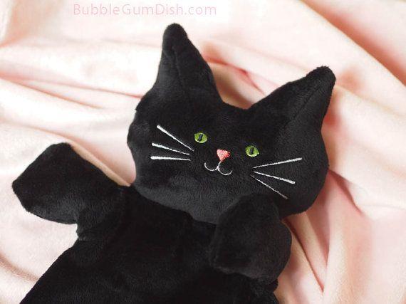 Cute Halloween Decor Black Cat Plush Softie Flat by BubbleGumDish