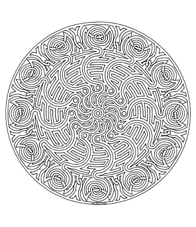This Mandala is almost a maze! You have to find your way by coloring ...